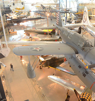 Steven F. Udvar-Hazy Center: South hangar panorama, such as Vought OS2U-three Kingfisher seaplane, B-29 Enola Gay, amongst other people