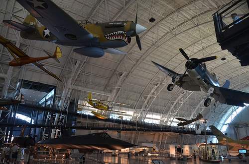 Steven F. Udvar-Hazy Center: P-40 Warhawk & F-four Corsair hanging more than the SR-71 Blackbird, amongst other people
